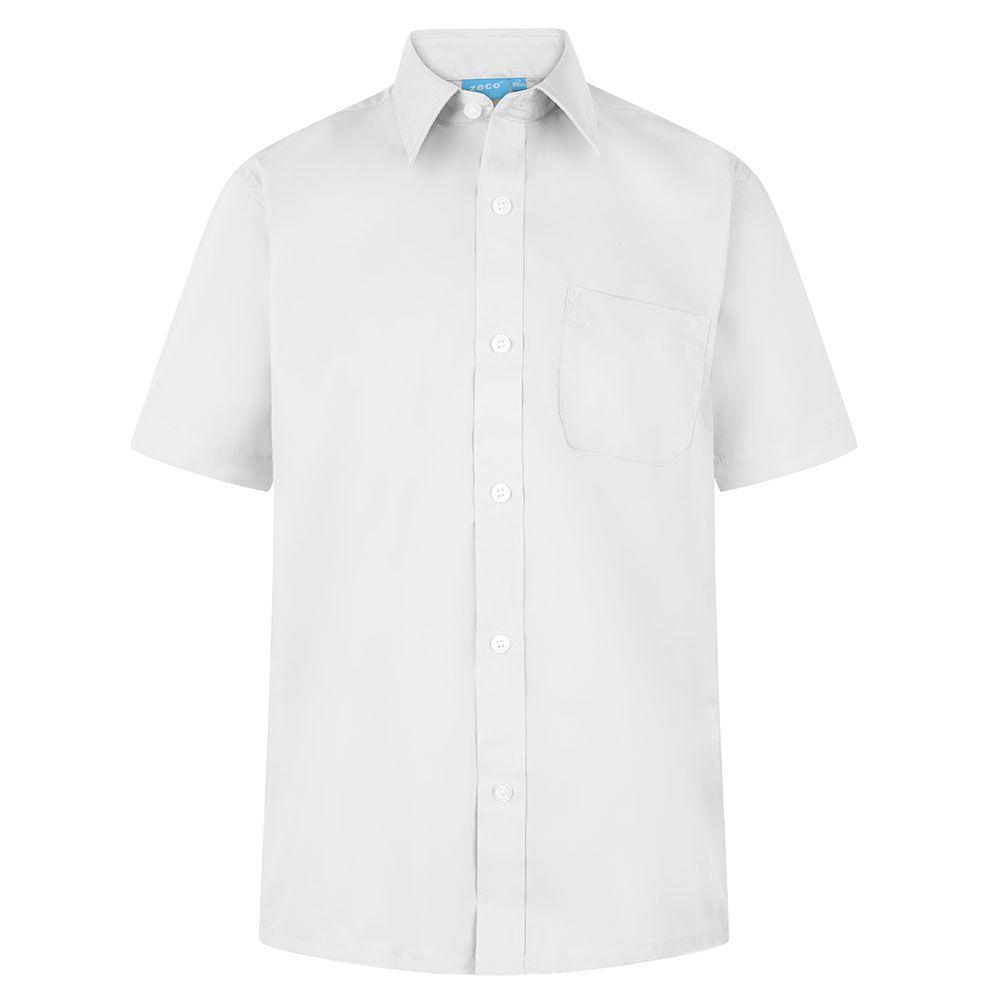 Boys School Shirt White Short Long Sleeve Non Iron Ages 2-16 Uniform