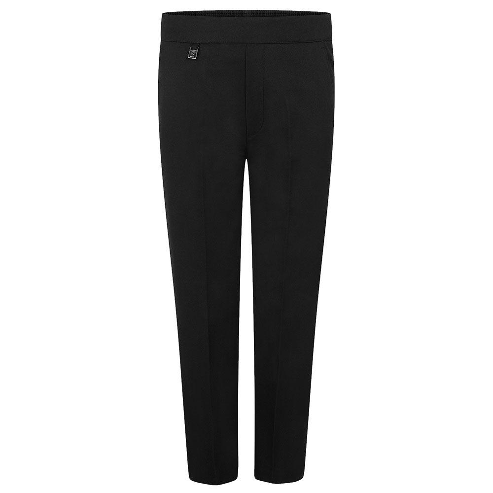 Age 2-8 Boys Pull Up School Trousers Elasticated Black Grey Navy Teflon UK
