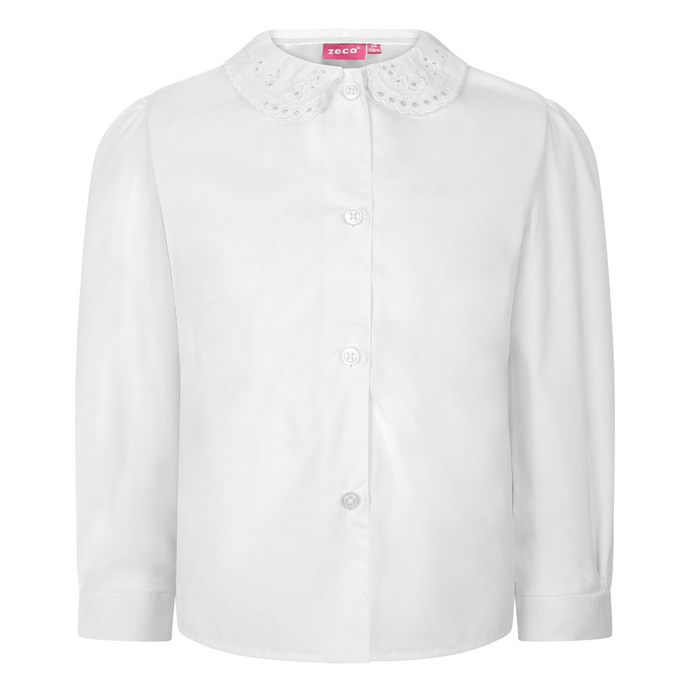 girls long sleeve school blouse lace collar