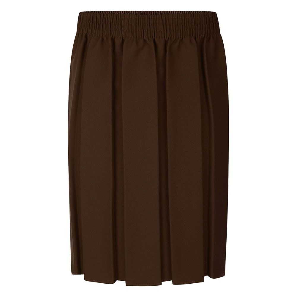 brown box pleat school skirt